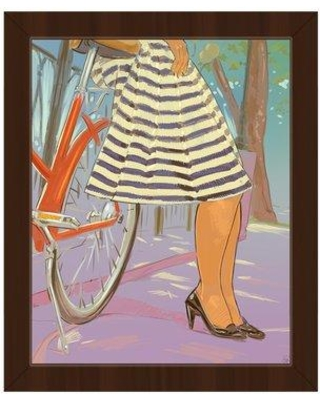 """Click Wall Art 'Paris Legs on Lilac' Framed Painting Print FRN0000019FRM Size: 26.5"""" H x 22.5"""" W Format: Espresso Framed"""