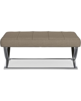 James Nickel Ottoman, Large, Solid, Performance Linen Blend, Stone