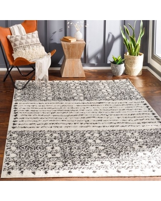 Art of Knot Bradie Charcoal/Cream 5 ft. 3 in. x 7 ft. Area Rug