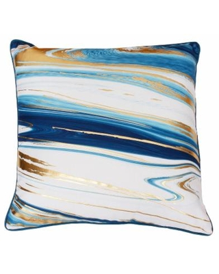 Thro by Marlo Lorenz Kia Marble Raised Foil Throw Pillow, Blue, 20X20