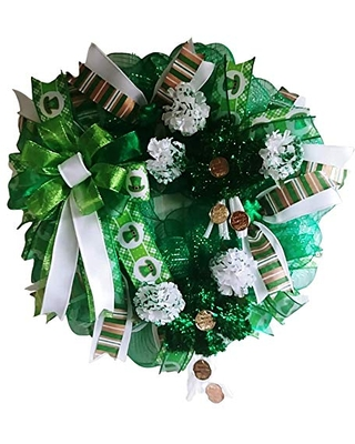 St. Patrick's Day Wreath, Extra Large Clover Front Door, Irish Wishes and Shamrock Kisses, St. Pat Decoration, St. Patrick's Day Decor, Shamrock Wreath