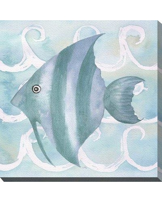 """Highland Dunes 'Azure Sea Creatures IV' Watercolor Painting Print BI163545 Size: 24"""" H x 24"""" W x 2"""" D Format: Wrapped Canvas"""
