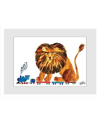"""Isabelle & Max Adeliza 'Lion on a Train 2' Art NI-FDBSM-89-D Format: White Framed with Matte Size: 20"""" H x 30"""" W"""