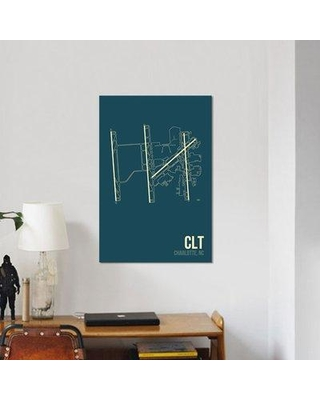 """East Urban Home Airport Diagram Series 'Charlotte Douglas' Graphic Art Print on Canvas URBH7098 Size: 12"""" H x 8"""" W x 0.75"""" D"""