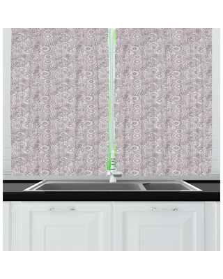 Brown Paisley Intertwined Detailed Sketch Motifs of Flowers and Antique Ornaments Kitchen Curtain East Urban Home