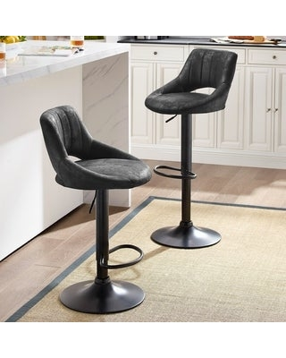Retro Faux Leather Adjustable Height Swivel Barstools with Footrest (Black)