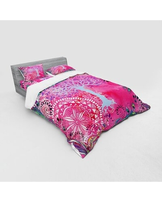 Tree of Life Motif with Peacock Feathers Tribal Primitive Nature Illustration Duvet Cover Set East Urban Home Size: Queen Duvet Cover + 3 Additional P