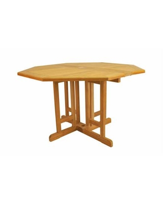 """Butterfly Collection TBF-120BO 47"""" Octagonal Folding Table with Teak Wood Construction and Stretchers in Natural"""