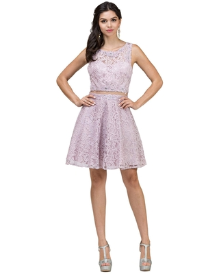 Dancing Queen - 2053 Two Piece Beaded Lace Cocktail Dress