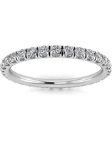 Platinum 5/8ct TDW Round-cut Diamond Split Prong-set Eternity Ring - White (6)