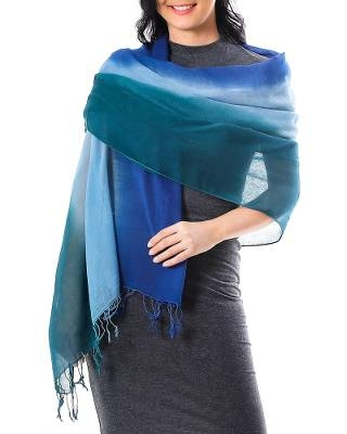 Ombre Cotton Shawl in Blue from Thailand