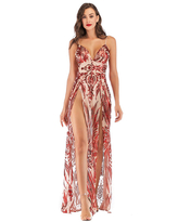 Milanoo Evening Dress Red Sleeveless Backless Polyester Sequins Split Gowns Long Party Dress Bodycon Pageant Dress