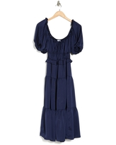 NSR Striped Off-the-Shoulder Tiered Maxi Dress, Size X-Large in Navy at Nordstrom Rack