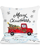 "Laurel Foundry Modern Farmhouse Corrèze Merry Christmas Pickup Truck Throw Pillow LFMF1224 Size: 16"" x 16"""