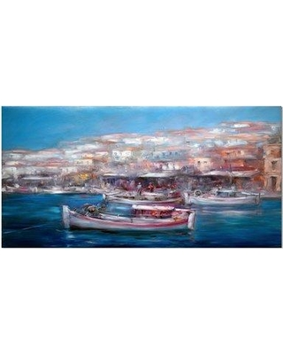"""East Urban Home 'Venice Italy Boats on the Island Harbor' Oil Painting Print on Wrapped Canvas ETUC2528 Size: 16"""" H x 32"""" W x 1"""" D"""