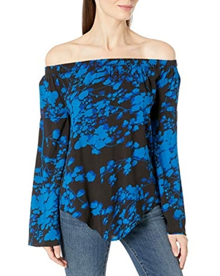James & Erin Women's Printed Off The Shoulder Top 2, Branches, Small
