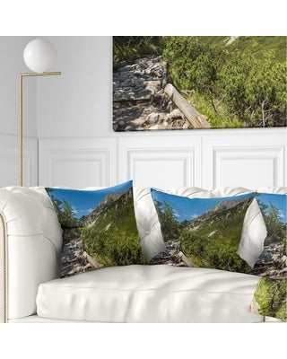 Designart 'Tourist Trail in High Mountains' Landscape Printed Throw Pillow (Square - 18 in. x 18 in. - Medium)