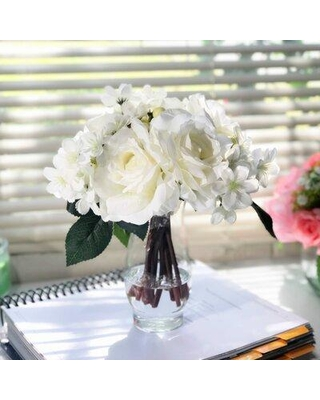 House of Hampton Silk Mixed Floral Arrangement and Centerpiece in Vase W001731232 Flower Color: Cream