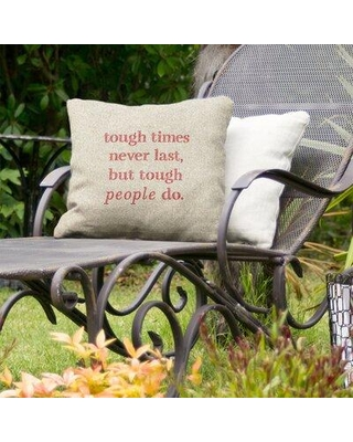 """East Urban Home Tough Times Indoor/Outdoor Throw Pillow EBJZ9628 Size: 18"""" x 18"""" Color: White/Red"""
