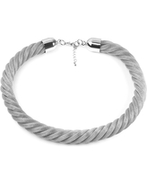 West Coast Jewelry Stainless Steel Twisted Mesh Necklace, Girl's, Silver