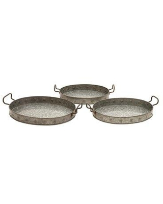 """Gracie Oaks Costin 3 Piece Serving Tray Set, Metal in Gray, Size Extra Large (Over 17"""" W) 