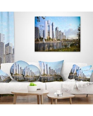 """East Urban Home Designart 'Residential Complex' Cityscape Photography Throw Pillow FUSI6578 Size: 18"""" x 18"""" Product Type: Throw Pillow"""
