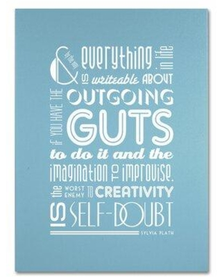 """Trademark Fine Art """"Outgoing Guts I"""" by Megan Romo Textual Art on Wrapped Canvas MR0095-C Size: 24"""" H x 18"""" W x 2"""" D"""