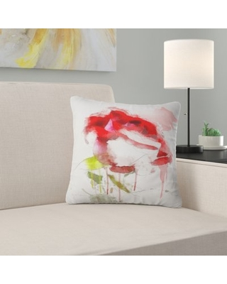 """Floral Rose Sketch with Splashes Pillow East Urban Home Size: 18"""" x 18"""", Product Type: Throw Pillow"""
