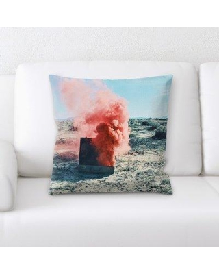 """East Urban Home Sharp Colors Throw Pillow, Microsuede/Cotton in Blue/Pink, Size 18X18"""" 
