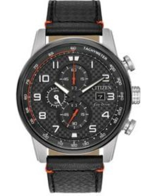Citizen Black Chronograph Leather Date Watch