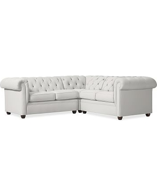 Chesterfield Upholstered Left Arm 3-Piece Corner Sectional, Polyester Wrapped Cushions, Sunbrella(R) Performance Slub Tweed White