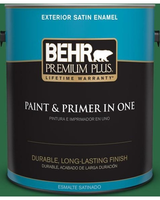 BEHR PREMIUM PLUS 1 gal. #S-H-460 Chopped Chive Satin Enamel Exterior Paint and Primer in One
