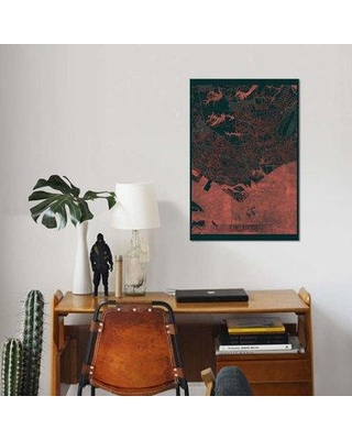 """East Urban Home 'Singapore Infrared Urban Blueprint Map' Graphic Art Print on Canvas EBHU7447 Size: 26"""" H x 18"""" W x 0.75"""" D"""