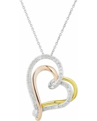 """""""Two Hearts Forever One Tri Tone Sterling Silver 1/2 Carat T.W. Diamond Heart Pendant, Women's, Size: 18"""", White"""""""