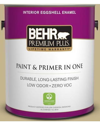 BEHR Premium Plus 1 gal. #bic-27 Modish Moss Eggshell Enamel Low Odor Interior Paint and Primer in One, Greens