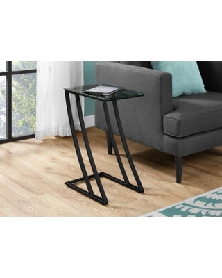 Accent Table - Black Metal w/ Tempered Glass - Monarch Specialties I-3089