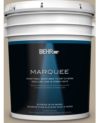 BEHR MARQUEE 5 gal. #N310-4 Desert Khaki Satin Enamel Exterior Paint and Primer in One