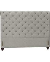 Chesterfield Upholstered Full Headboard, Polyester Wrapped Cushions, Premium Performance Basketweave Light Gray