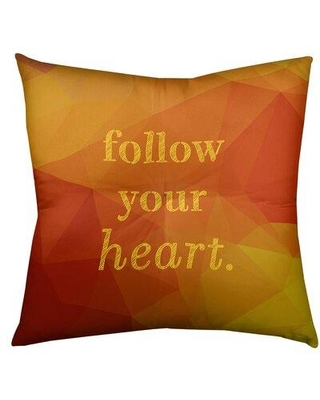 """East Urban Home Follow Your Heart Throw Pillow FCKa9449 Size: 30"""" H x 30"""" W Color: Amber Yellow"""