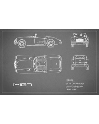 """East Urban Home 'MG MGA Mark I' Graphic Art Print on Canvas in Gray ESUR3337 Size: 26"""" H x 40"""" W x 0.75"""" D"""