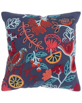 Rizzy Home Betty Birdie Embroidery Throw Pillow, 20X20