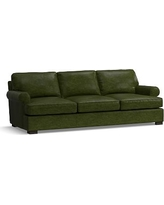 Townsend Roll Arm Leather Grand Sofa, Polyester Wrapped Cushions, Leather Legacy Forest Green