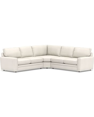 Pearce Square Arm Upholstered 3-Piece L-Shaped Wedge Sectional, Down Blend Wrapped Cushions, Denim Warm White