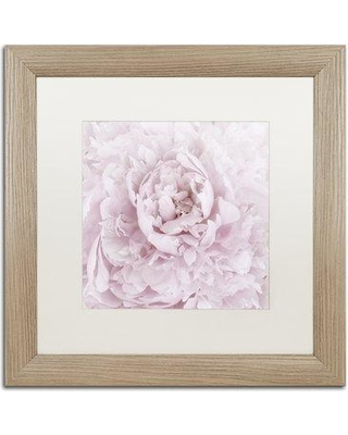"""House of Hampton 'Pink Peony Flower' Framed Photographic Print on Canvas HOHP9961 Size: 16"""" H x 16"""" W x 0.5"""" D Frame Color: Black"""