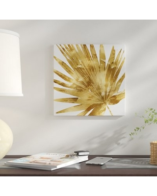 """'Palm Close up IV' Graphic Art Print on Canvas in Gold East Urban Home Size: 37"""" H x 37"""" W x 0.75"""" D"""