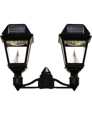 GAMA SONIC Imperial II 2-Head Solar Black Outdoor Integrated LED Post Light on 3 in. Fitter with 21 Bright White LEDs per Lamp Head