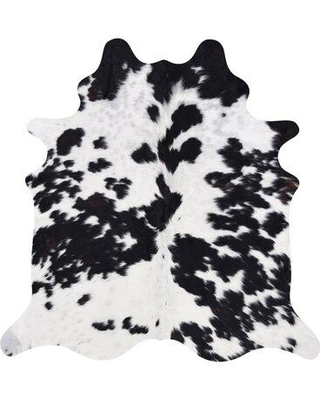 Millwood Pines Nobhill Real Cowhide Black/Brown/White Area Rug X112565237