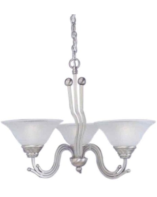 Toltec Lighting 223-BN-512 Wave Three-Light Uplight Chandelier Brushed Nickel Finish with Dew Drop Glass, 10-Inch