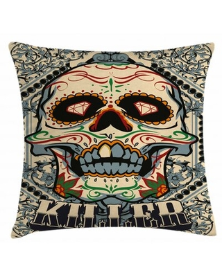 """Sugar Skull Indoor / Outdoor 28"""" Throw Pillow Cover East Urban Home"""