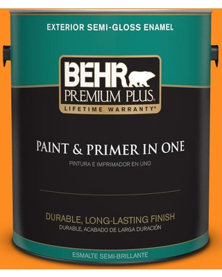 BEHR Premium Plus 1 gal. #S-G-280 Mango Madness Semi-Gloss Enamel Exterior Paint and Primer in One